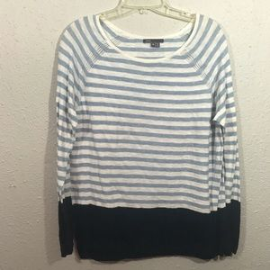 Vince Lightweight Round Neck Blue Stripe Sweater